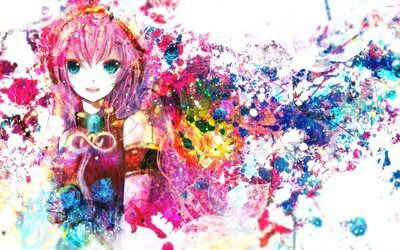 Scarica sfondi Megurine Luka, l'arte, la vernice spruzzata, manga, Vocaloid