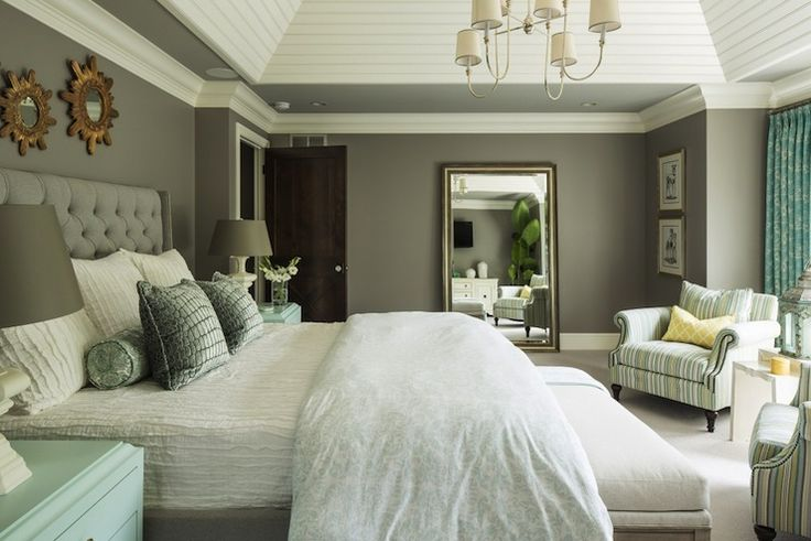 Wall color is Benjamin Moore Winter Gates.  Perfect bedroom color and it looks amazing with the pop of blue/green.