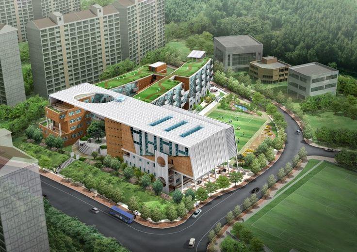 Architect high school project in korea high school for Exterior design school
