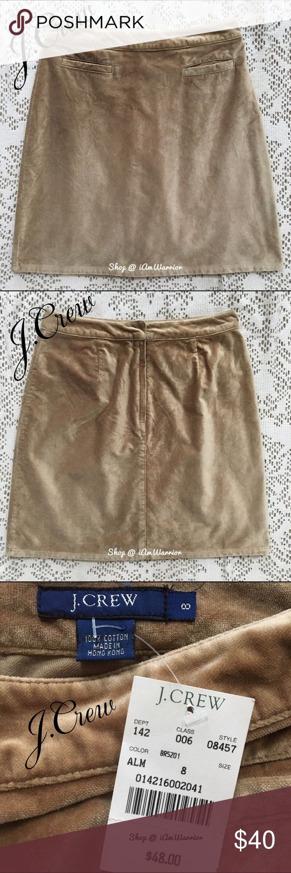 "🆕NWT J. Crew velvet mini skirt Reduced to lowest! NWT J. Crew velvet mini skirt. Color is called almond, and depending on the light it looks tan to warm caramel in color. Sits at natural waist (just shy of 14"" across), so fits a size 6 better. 20"" long, looks great with tights, boots and a cozy sweater. ❗Please read my recently updated 'about me and my closet' listing for pricing/policies. J. Crew Skirts Mini"