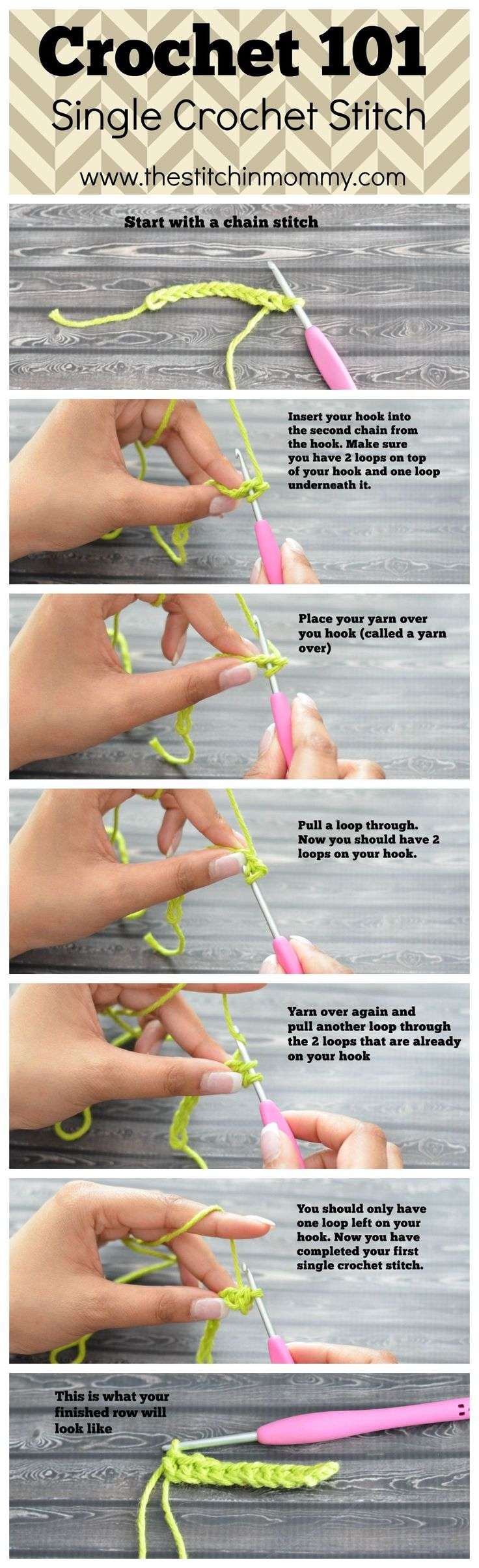 Crochet 101 - Single Crochet Stitch Tutorial {www.thestitchinmommy.com} ✿⊱╮Teresa Restegui http://www.pinterest.com/teretegui/✿⊱╮