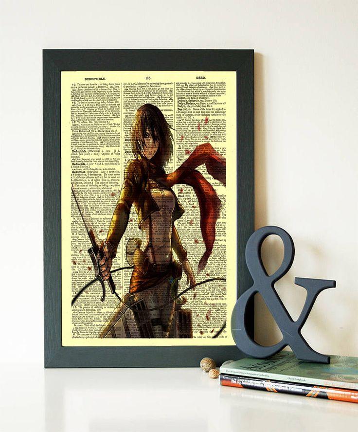 Mikasa print attack on titan print anime poster dictionary