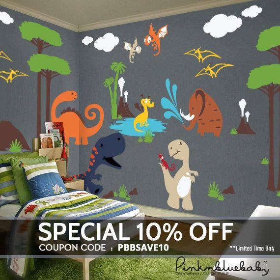 dinosaur wall decals playroom wall decals kids nursery wall dcor