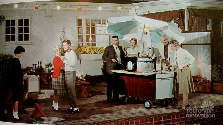 """1960 - """"PRODUCTS FOR ELECTRICAL LIVING OUTDOORS typify General Electric's efforts to supply the public's changing tastes. Colorful outdoor lighting sets the scene with a portable stereophonic record player, while the grownups enjoy a """"Partio Cart,"""" a complete outdoor cooking center on wheels. Useful small appliances such as the electric coffee makers complete the picture.""""  http://retrorenovation.com/wp-content/uploads/2014/06/GE-Partio-Cart-1-4.jpg"""