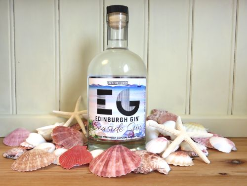 Edinburgh's Seaside Gin (seaweed, scurvy grass and ground ivy); old bottle style pictured