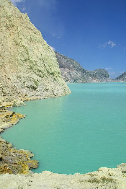 Beautiful Kawah Ijen sulphur lake - Indonesia