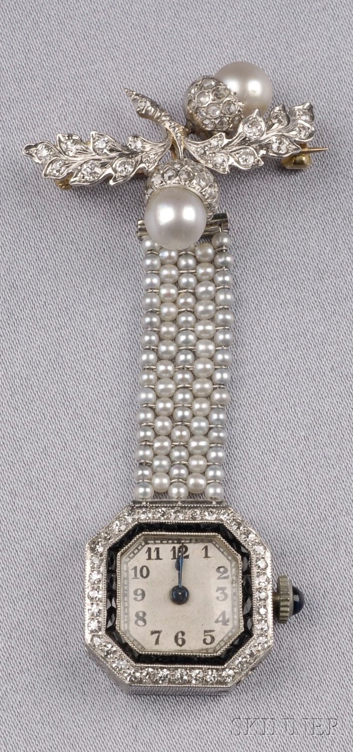 Art Deco Seed Pearl, Diamond, and Onyx Pendant Watch