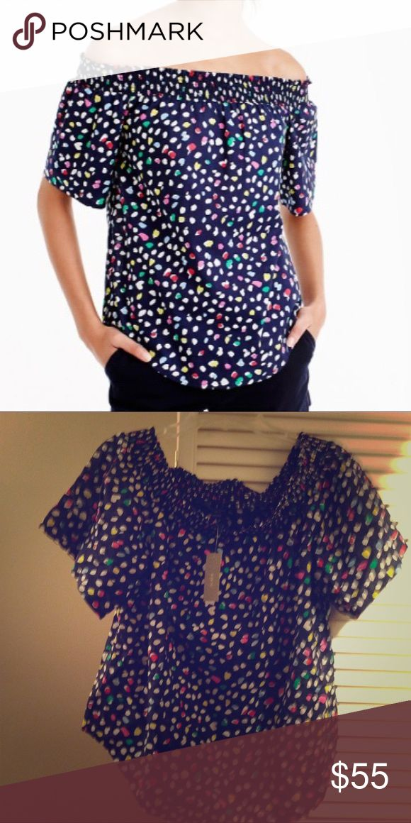 🚨J. Crew Off-the-shoulder top 🚨 Off-the-shoulder top in Ratti® Happy Cat print!  Ever wonder where the world's most amazing prints, scarves and wovens come from? The answer is Ratti, one of the leading producers of fabric for womenswear, furnishing and accessories located in Como, Italy. Sold out on the J Crew website! Cotton. Machine wash. Import. Item F1708. J. Crew Tops