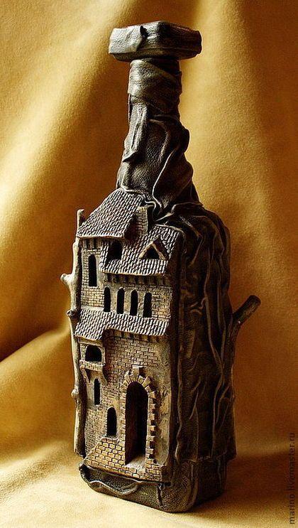 Подарки для мужчин, ручной работы. Ярмарка Мастеров - ручная работа. Купить Бутылка-замок. Handmade. Коричневый, подарок шефу