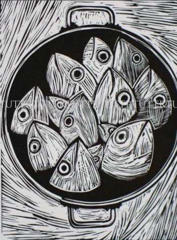 Well isn't this just a kettle of fish . . . like shooting fish in a barrel. R. Tutt/Prints Charming - Fish linocut                                                                                                                                                     More