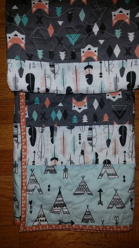 Tribal Modern Crib Quilt Gender Neutral Crib Fox by QuiltsForU2