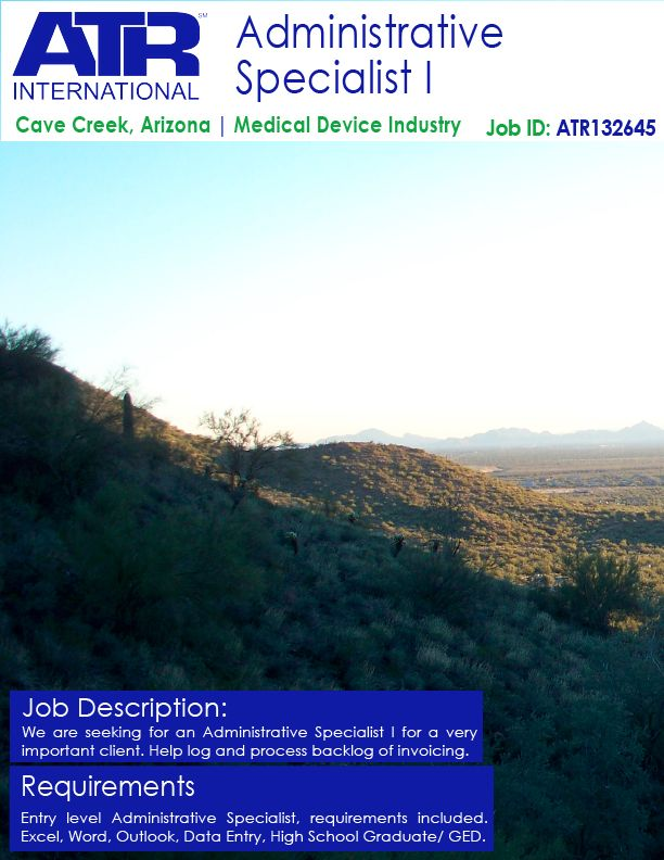 We Are Hiring For A Administrative Specialist In Cave Creek