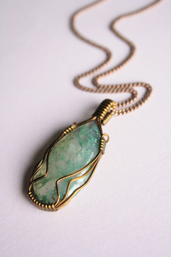 612 best wire wrapped jewelry images on pinterest jewelry ideas mens jewelry moss agate elegant pendant wire wrapped publicscrutiny Image collections
