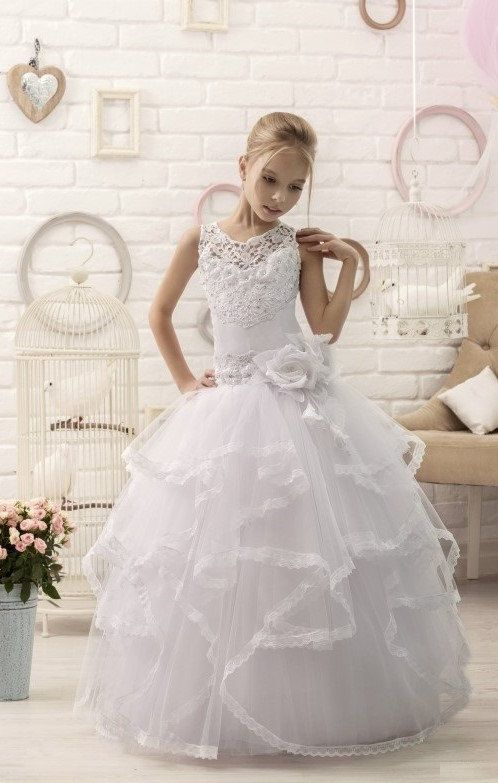 White Lace Flower Girl Dress First Communion Dress | Tulle Dress | Corset Girls Dresses | Pageant Dresses | Toddler Dresses or older  She will