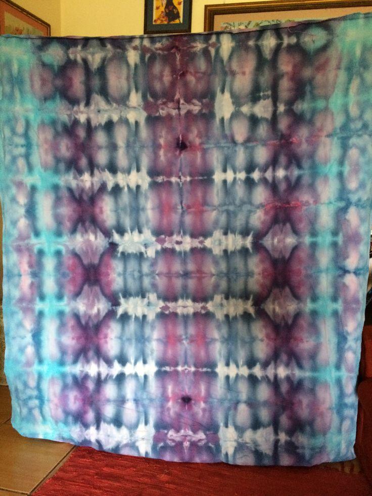 Blue, turquoise, violet, plum curtaining