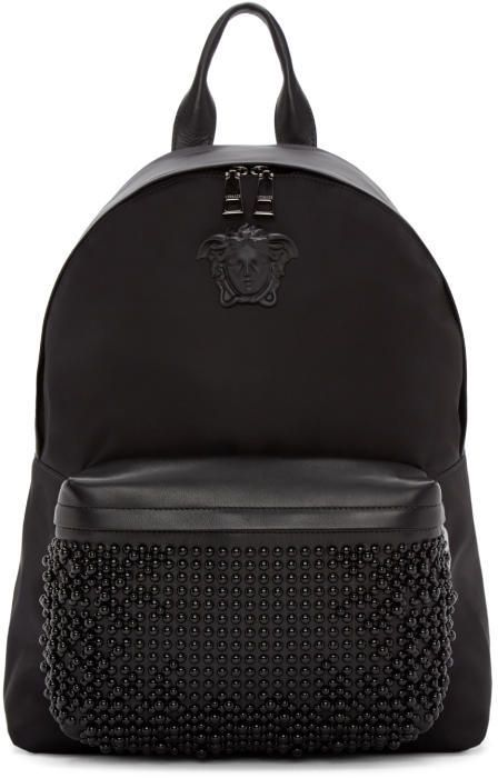 Versace Black Nylon Studded Backpack
