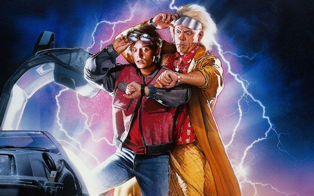 """It's here at last. Back to the Future Day. The date that Marty McFly and Dr   Emmett """"Doc"""" Brown chose to travel forward in time from 1985 in the hit   sequel Back To The Future II"""