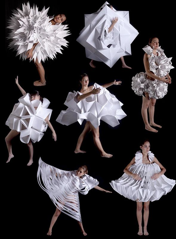 Paper dress designs by Petra Storrs | origami dress papercraft paperart