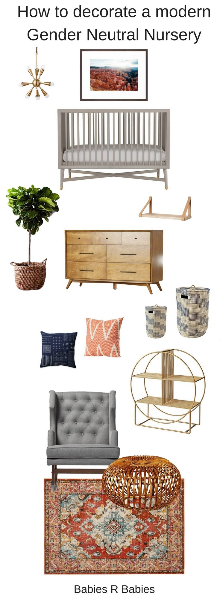 How to decorate a modern gender neutral nursery. #genderneutralnursery #genderneutral
