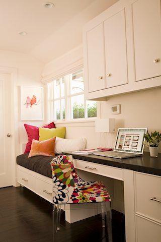 Day bed too?  Office Nook with white cabinets, dark desktop and built-in bench with bright accents - Zoldan Interiors