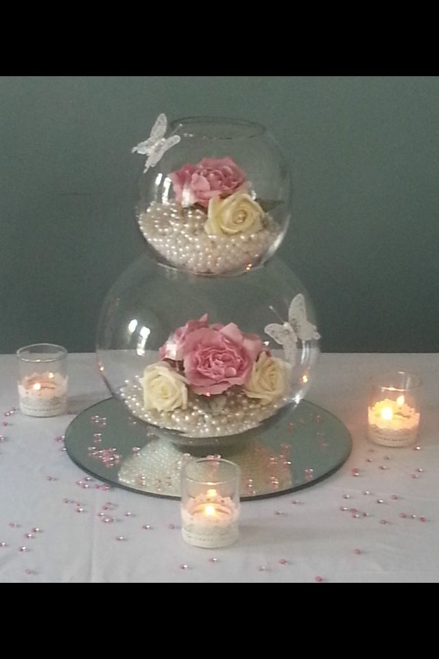 Centrepiece of fishbowls, flowers and mirrorplate. Follow us for more planning inspiration or contact us at www.tidesevents.co.uk for help planning your party.