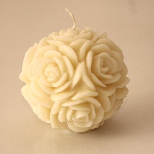 Volcanica White Floral Round Candle - Also in pink, purple, red, silver-tipped, and gold-tipped  volcanicacandles.com