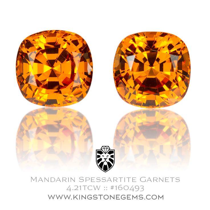 Nigerian Mandarin Garnets - 4.21tcw - 6.84X6.84X5.15mm - SKU# 160493 - Intense orange mandarin spessartite garnets are just some of the amazing gems we have.