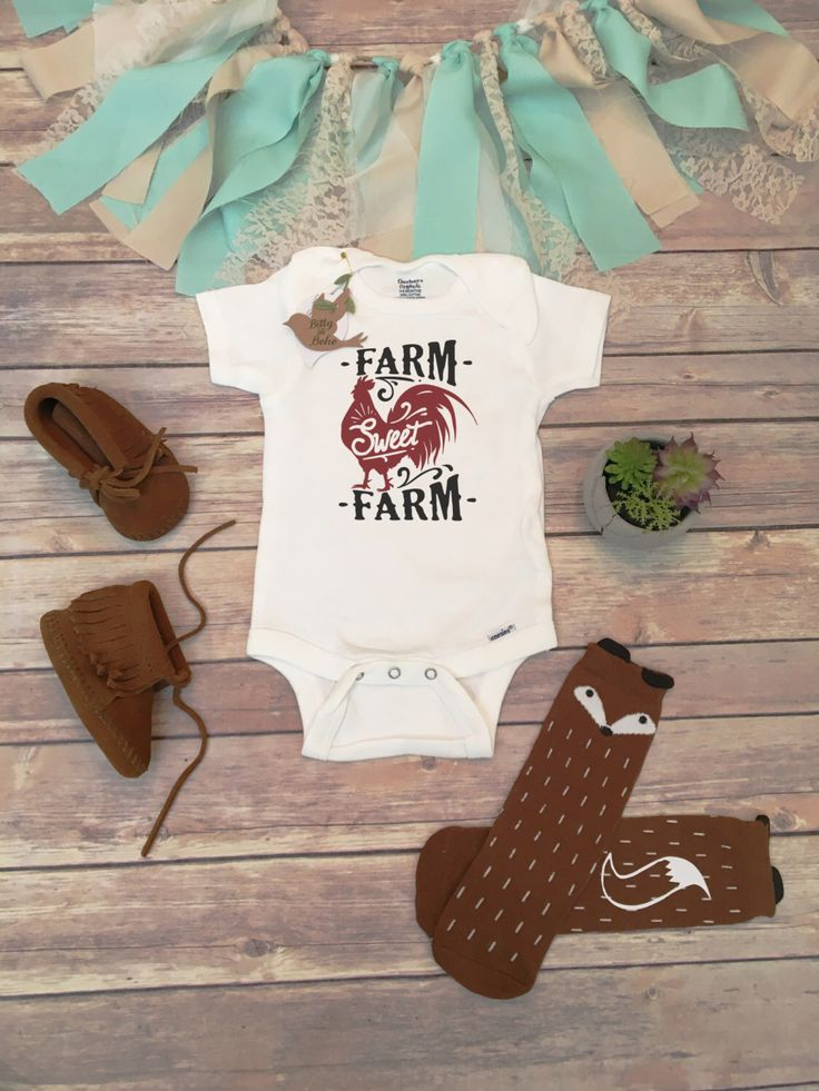 Farm Sweet Farm Onesie®, Baby Shower Gift, Baby Boy Clothes, Country Baby Clothes, Rooster Onesie, Cute Onesies, Rustic Baby Clothes, Unisex by BittyandBoho on Etsy https://www.etsy.com/listing/280800350/farm-sweet-farm-onesie-baby-shower-gift