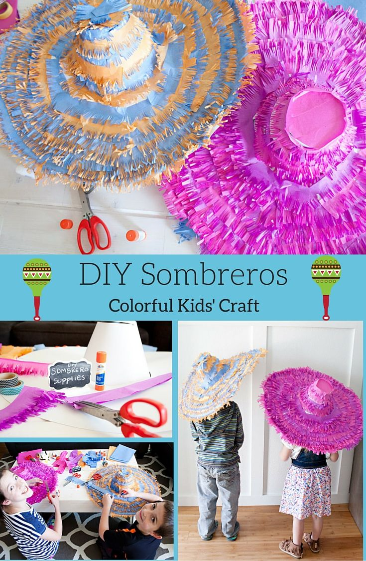 No sombrero? No problem! This DIY sombrero idea is a fun party activity for the kids, and even the older kids will love it! @tiffhewlett shares her tutorial on our blog. #fiesta #kidscraft