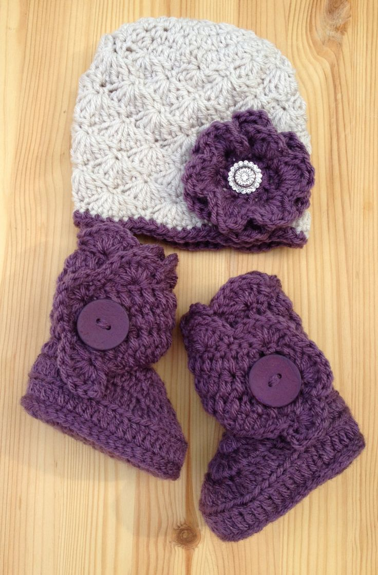 Urban Baby Hat and Boots in Linen/Amethyst, Purple Baby Boots, Purple Baby Shoes, Baby Uggs, Crochet Baby Shoes, Wrap Boots by StudioCbyE on Etsy