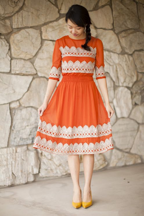 Orange and lace.: Diy Anthropologie, Flicker Dress, Style, Tangerine Flicker, Dresses, Add Lace