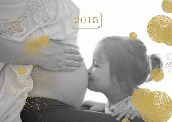 Gold Postcard pregnancy announcement