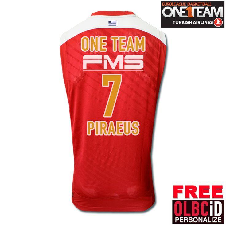 Όλοι μαζί, όλοι One Team! New #OlympiacosBC Home Stripes-Replica Jersey Men 2013-2014 - #ΟΝΕΤΕΑΜ #7 #euroleague @Official Olympiacos Bc Store