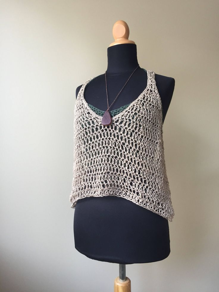 Excited to share the latest addition to my #etsy shop: Hemp Crochet Racer back Cropped Tank Beach cover up ecofashion Bohemian festival top hippie clothing top