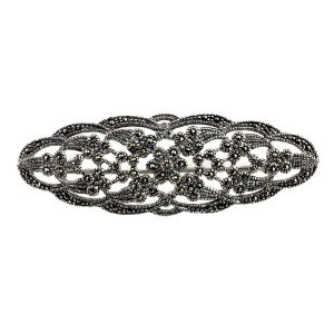 Sterling Silver Brooches Indian Jewellery Leafy Flower Marcasite Length 7.36 cm: ShalinCraft: Amazon.co.uk: Jewellery