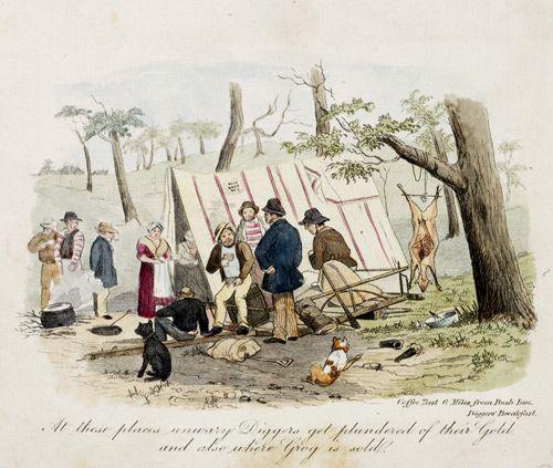 Coffee tent six miles from Bush Inn. Diggers breakfast 185/? Samuel Thomas Gill (gold diggings)