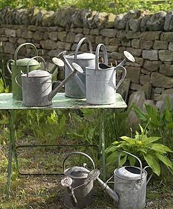 vintage watering cansFun Gardens, Gardens Ideas, Design Gardens, Crafty Gardens, Gardens Decor, Vintage Water, Metals Water, Watering Cans, Gardens Design