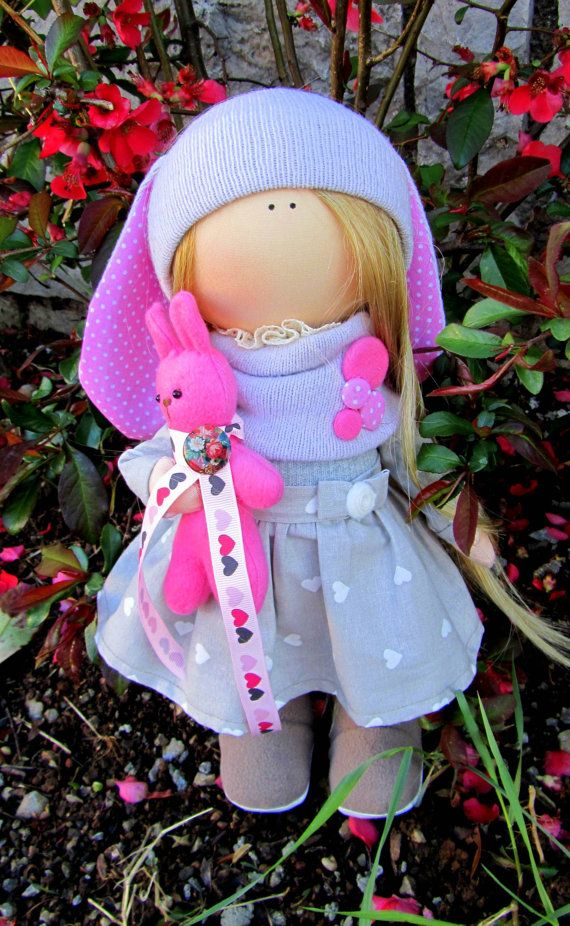 CLOTH DOLL handmade doll fabric doll art by NICEDOLLSANDRABBITS