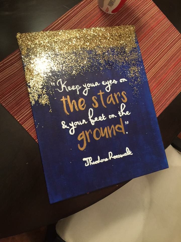 Stars Theodore Roosevelt quote gold glitter navy canvas