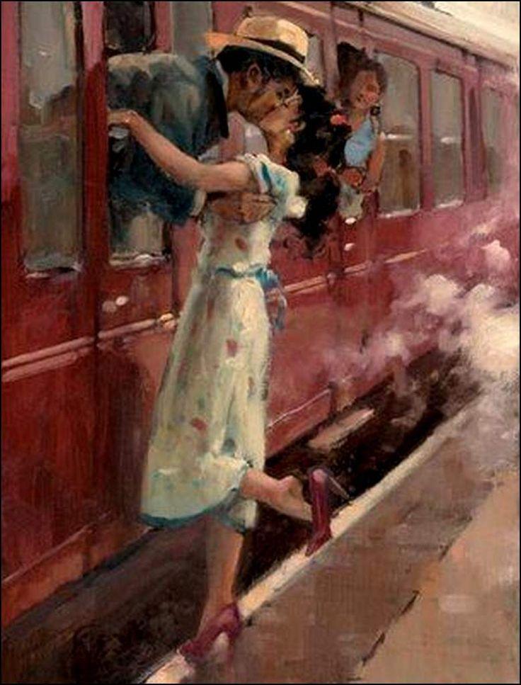 Amoureux en peinture - Raymond Leech (1949) - Les amoureux