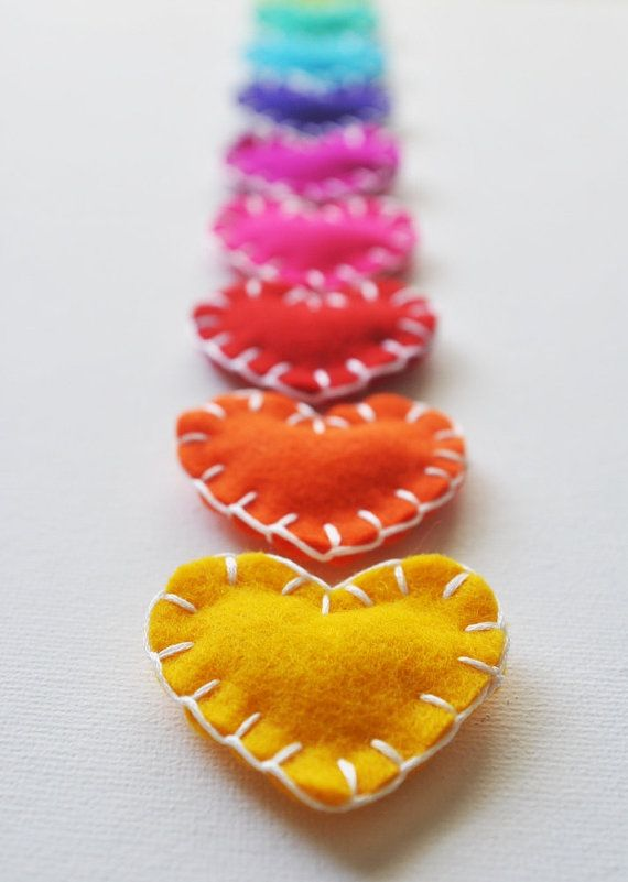 Heart shaped felt Magnets - hand sewing project idea