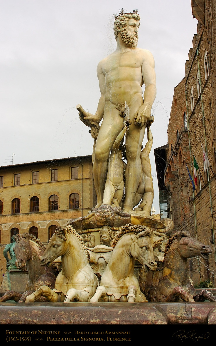 The Neptune Fountain. Florence Italy. | Poseidon/Neptune ...