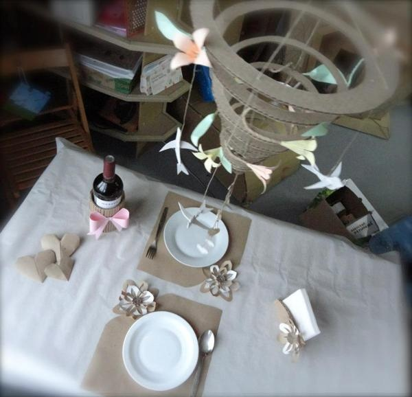 Cardboard art spiraling wonderfully out of control and some place setting with a dash of whimsey, by Cardboardia.