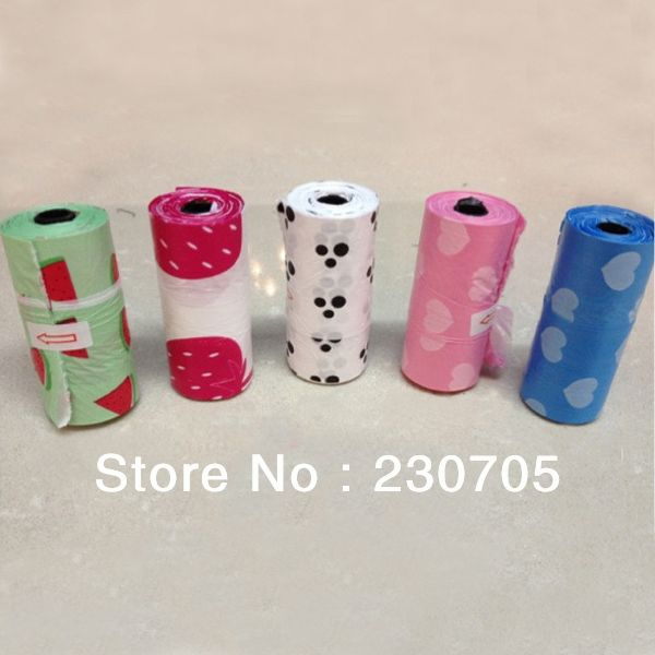 150pcs=10 Rolls Pet Dog Biodegradable Waste Pooper Scoopers Bags on Board,15pcs/roll, 22*31cm Multi Color With FREE DISPENSER $11.98
