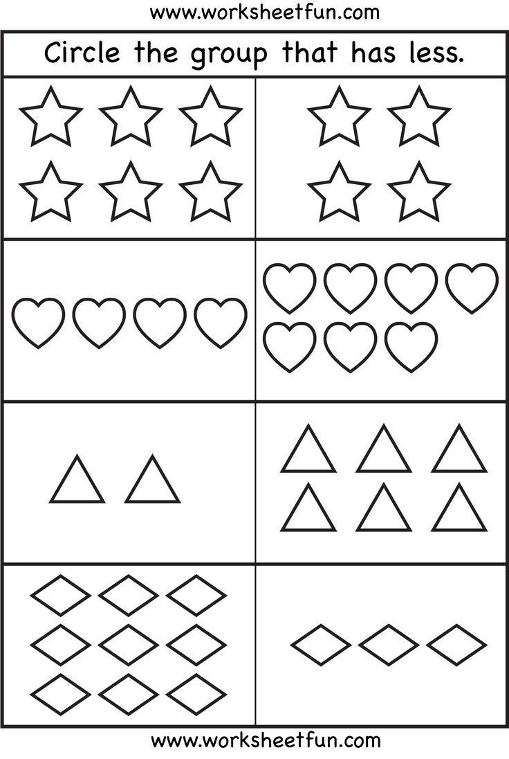 More Or Less Preschool Math Worksheets Kindergarten Math Worksheets Kindergarten Math Worksheets Free Addition worksheet for sr kg