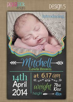 Personalised Baby Boy Birth Announcement / by PippajackDesigns