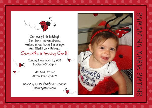 1st Birthday Lady Bug Photo Invitation