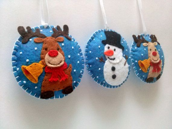 Felt christmas ornaments  set of 3 snowman brown by DusiCrafts
