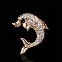 2016 Новый высококачественный Мужские Золотые Броши Марка Роскошные Стразы Симпатичные Дельфин Украшения Для Женщин X16