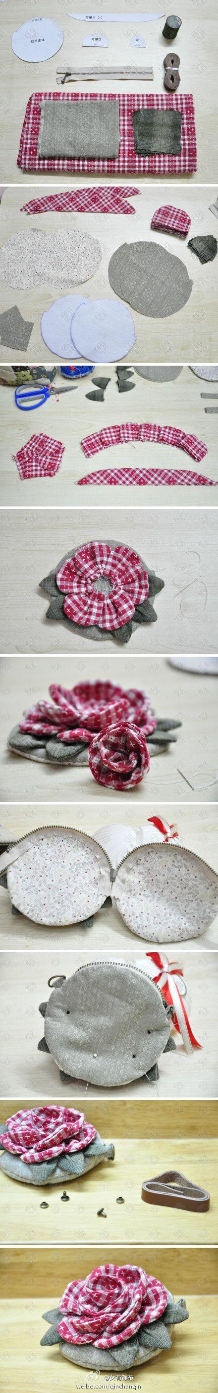 DIY rose change purse
